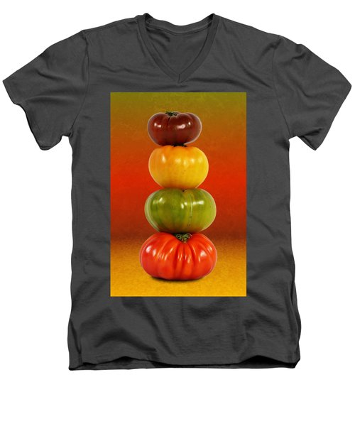 Tower Of Colorful Tomatoes Men's V-Neck T-Shirt