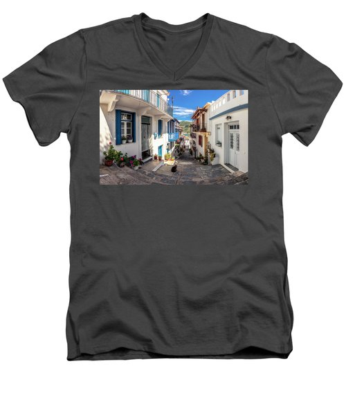 Town Of Skopelos Men's V-Neck T-Shirt