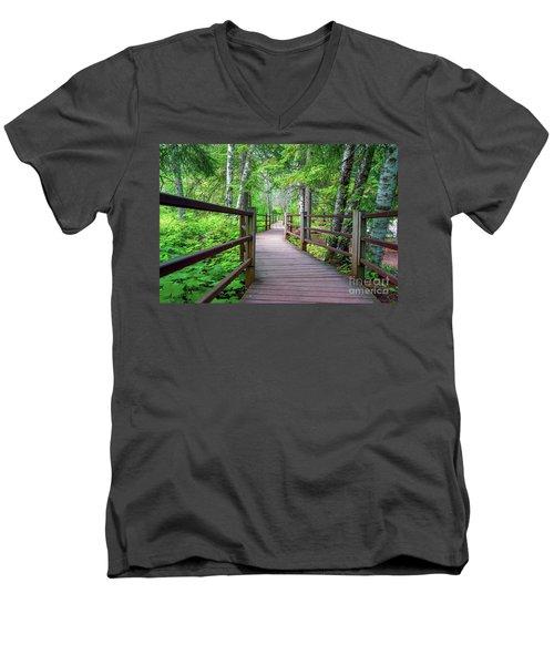 Trail At Gooseberry Falls Men's V-Neck T-Shirt