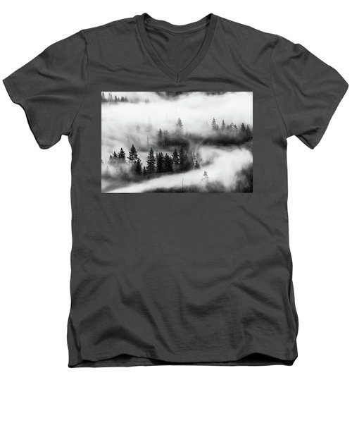 Men's V-Neck T-Shirt featuring the photograph Trees In The Mist 2 by Stephen Holst