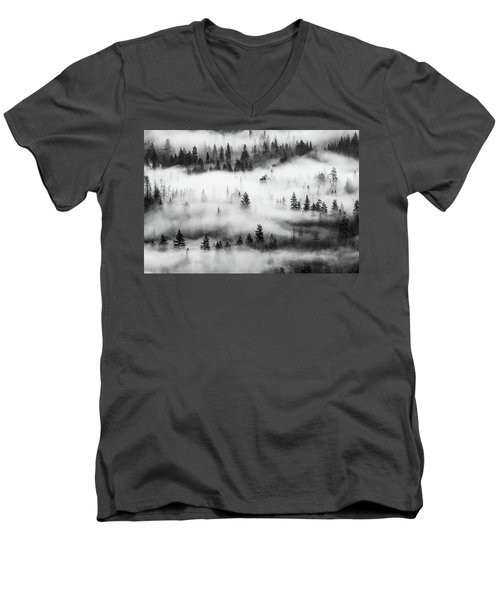 Men's V-Neck T-Shirt featuring the photograph Trees In The Mist 3 by Stephen Holst