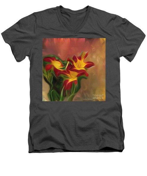 Trio Of Day Lilies Men's V-Neck T-Shirt