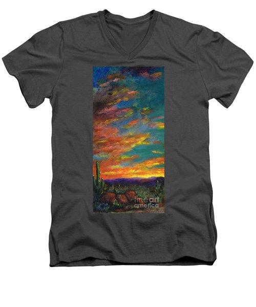 Triptych 1 Desert Sunset Men's V-Neck T-Shirt