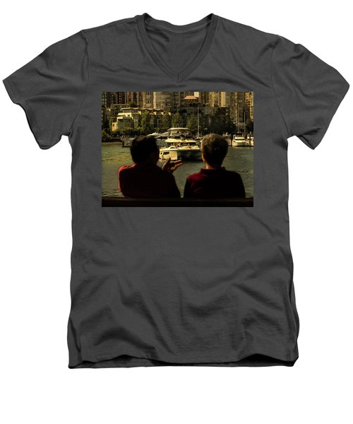 Two Friends At The Vancouver Bay Men's V-Neck T-Shirt