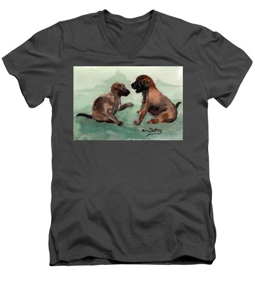 Two Malinois Puppies Men's V-Neck T-Shirt
