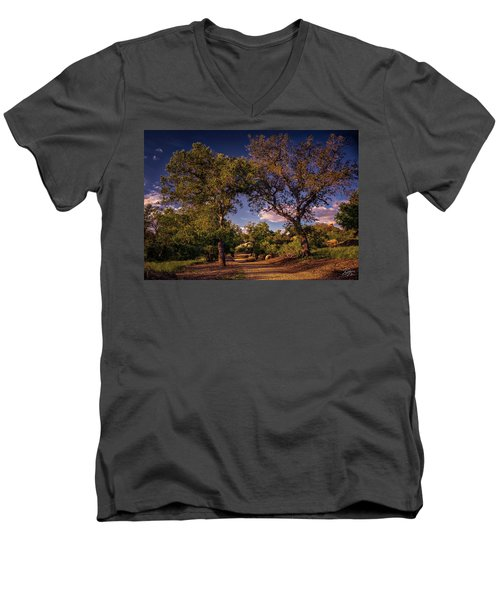 Two Old Oak Trees At Sunset Men's V-Neck T-Shirt