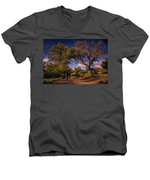 Two Old Oak Trees At Sunset Men's V-Neck T-Shirt