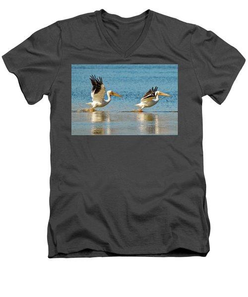 Two Pelicans Taking Off Men's V-Neck T-Shirt
