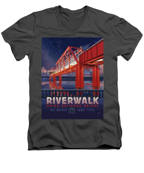 Union Railroad Bridge - Riverwalk Men's V-Neck T-Shirt