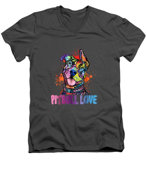 Unisex Colorful Pitbull Dog Tee Funny Pit Bulls Shirt Men's V-Neck T-Shirt