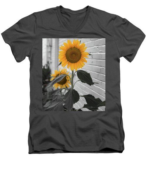 Urban Sunflower - Black And White Men's V-Neck T-Shirt