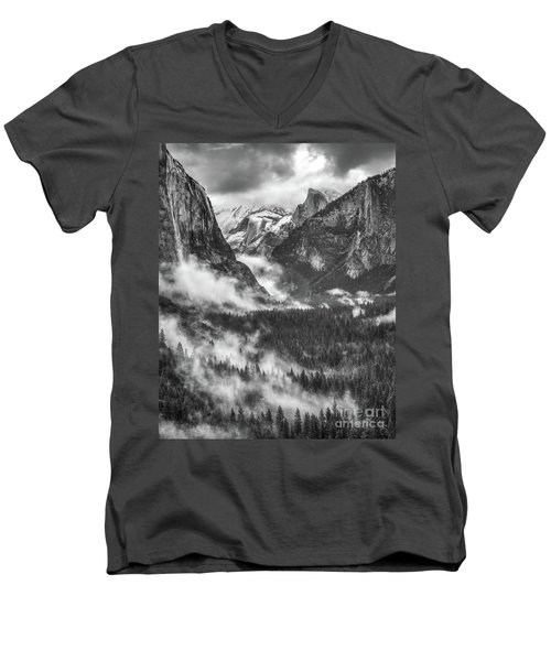 Men's V-Neck T-Shirt featuring the photograph Valley Mist by Vincent Bonafede