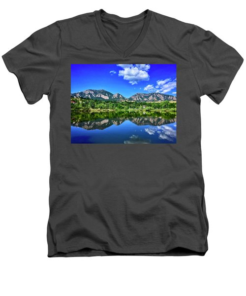 Men's V-Neck T-Shirt featuring the photograph Viele Lake by Dan Miller