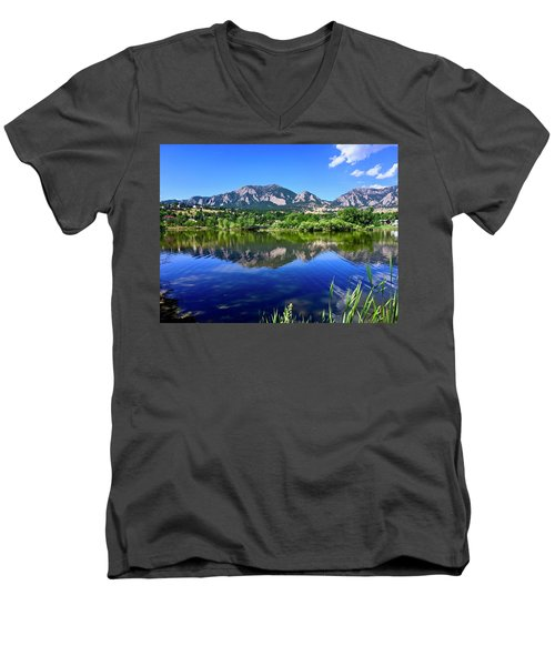 Men's V-Neck T-Shirt featuring the photograph Viele Lake 3 by Dan Miller