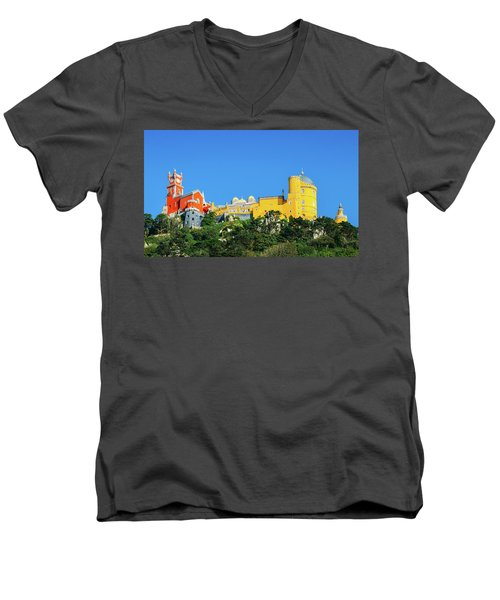 View Of Pena National Palace, Sintra, Portugal, Europe Men's V-Neck T-Shirt