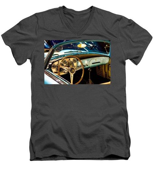 Vintage Blue Car Men's V-Neck T-Shirt