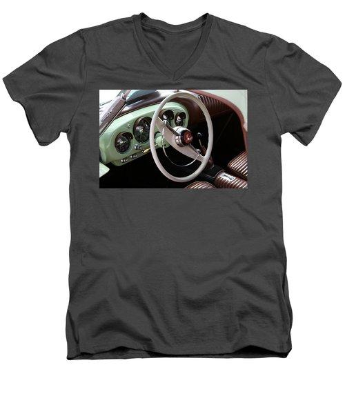 Men's V-Neck T-Shirt featuring the photograph Vintage Kaiser Darrin Automobile Interior by Debi Dalio