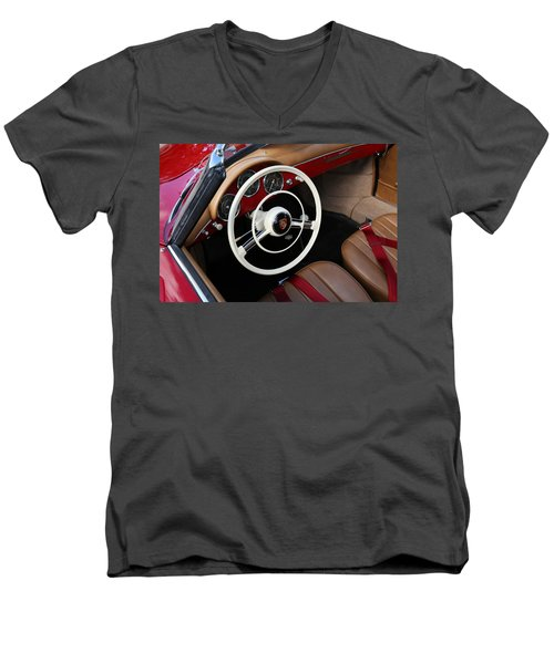 Men's V-Neck T-Shirt featuring the photograph Vintage Red Convertible Interior by Debi Dalio