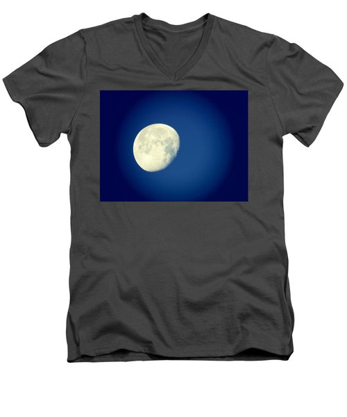 Men's V-Neck T-Shirt featuring the photograph Virgo Moon Three Quarters by Judy Kennedy