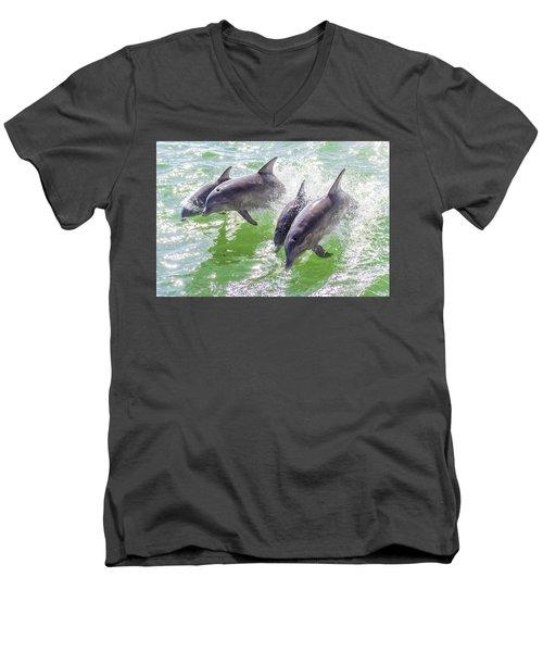 Wake Surfing Dolphin Family Men's V-Neck T-Shirt