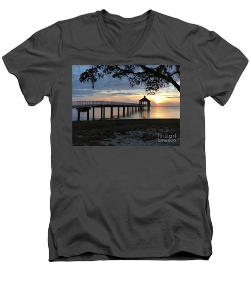 Walking Bridge To The Gazebo Men's V-Neck T-Shirt