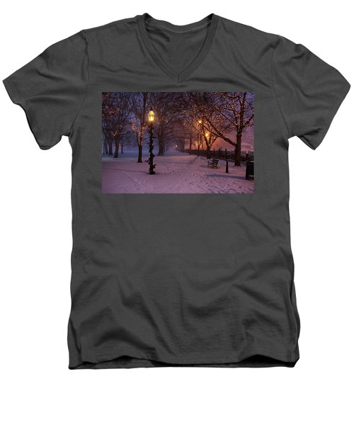 Walking The Path On Salem Ma Common Men's V-Neck T-Shirt