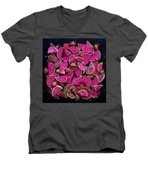 Watermelon Radish Edges Men's V-Neck T-Shirt