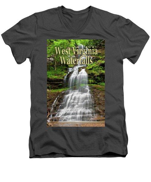 West Virginia Waterfalls Poster Men's V-Neck T-Shirt