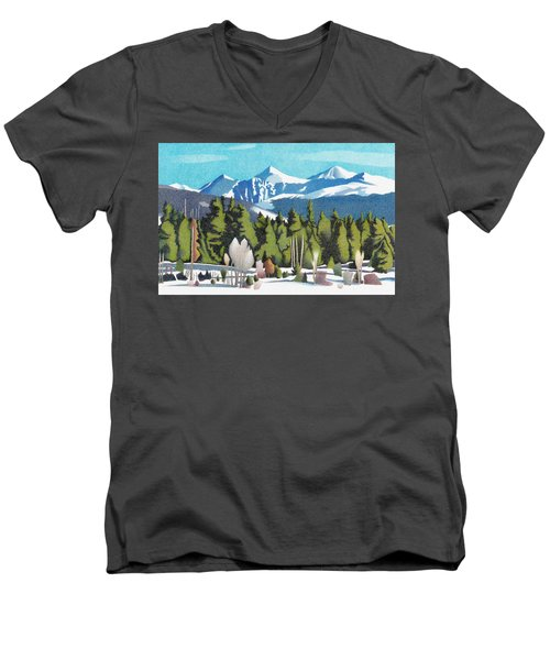 Men's V-Neck T-Shirt featuring the drawing Western Slope Winter by Dan Miller