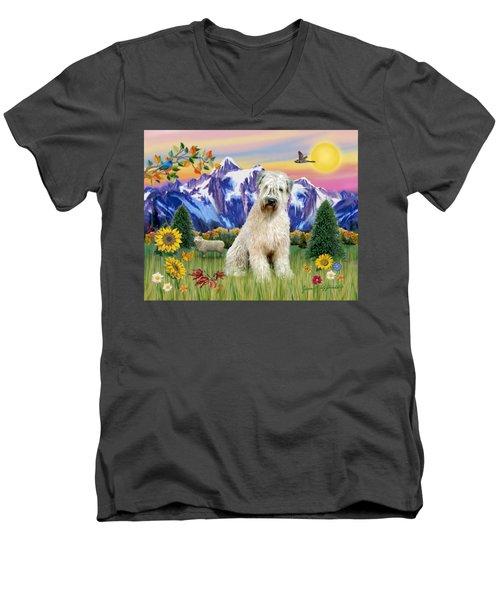 Wheaten Terrier In The Country Men's V-Neck T-Shirt