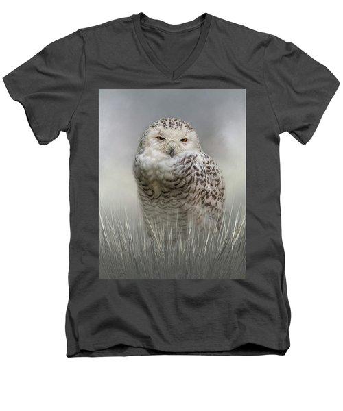 White Beauty In The Field Men's V-Neck T-Shirt