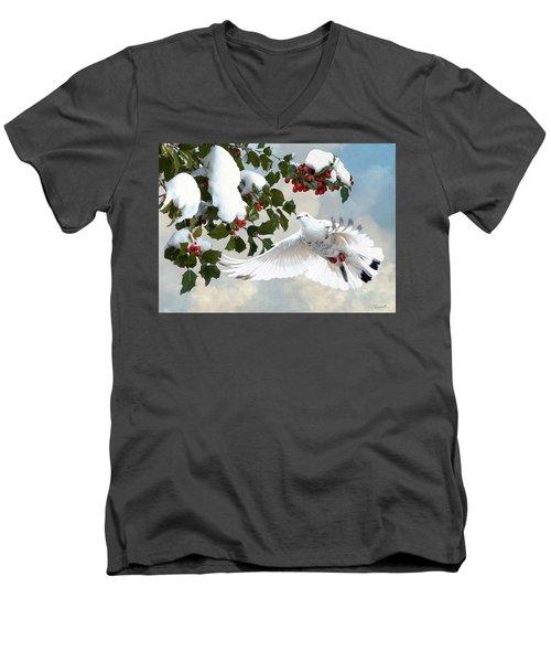 White Dove And Holly Men's V-Neck T-Shirt