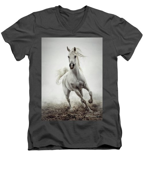 Men's V-Neck T-Shirt featuring the photograph White Horse Running In Winter Mist by Dimitar Hristov