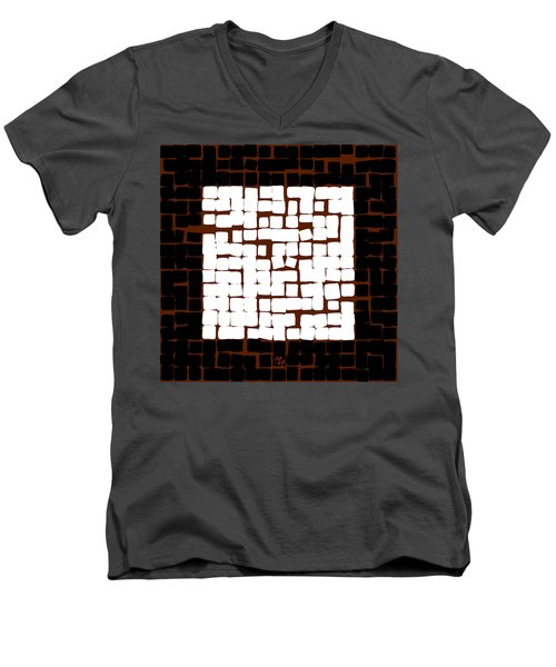 Men's V-Neck T-Shirt featuring the digital art White Square 17x17 by Attila Meszlenyi