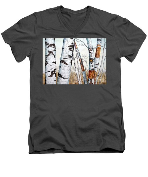 Wild Birch Trees In The Forest In Watercolor Men's V-Neck T-Shirt