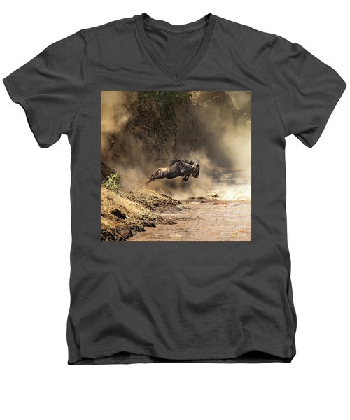 Wildebeest Leaps From The Bank Of The Mara River Men's V-Neck T-Shirt
