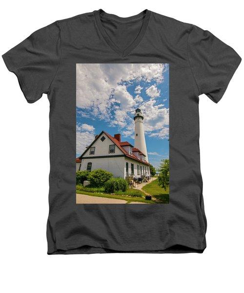 Wind Point Lighthouse No. 2 Men's V-Neck T-Shirt