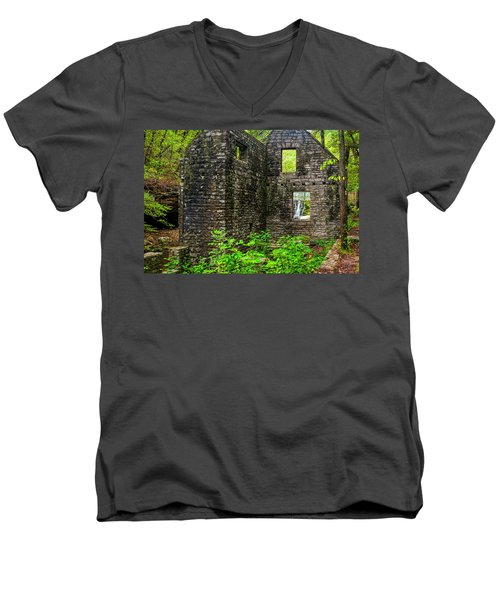 Men's V-Neck T-Shirt featuring the photograph Window To The Waterfall by Andy Crawford