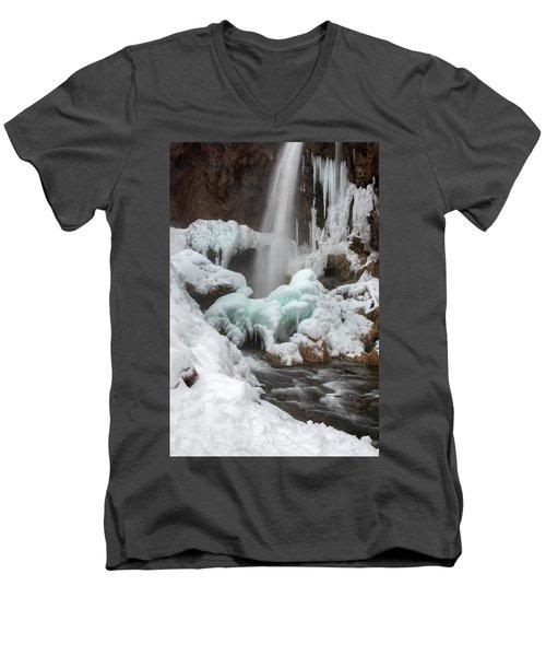 Winter At Rifle Falls Colorado Men's V-Neck T-Shirt