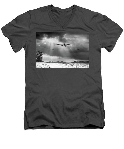 Men's V-Neck T-Shirt featuring the photograph Winter Homecoming Bw Version by Gary Eason