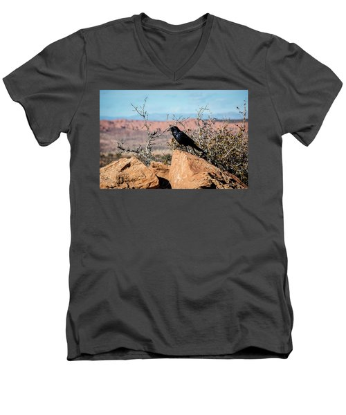 Men's V-Neck T-Shirt featuring the photograph Black Raven by David Morefield