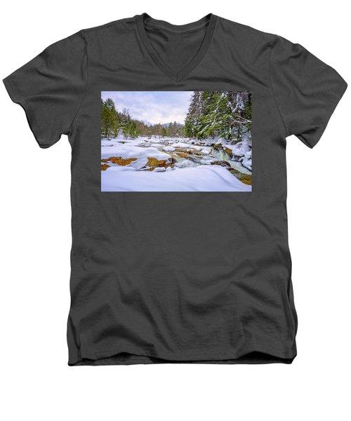 Winter On The Swift River. Men's V-Neck T-Shirt