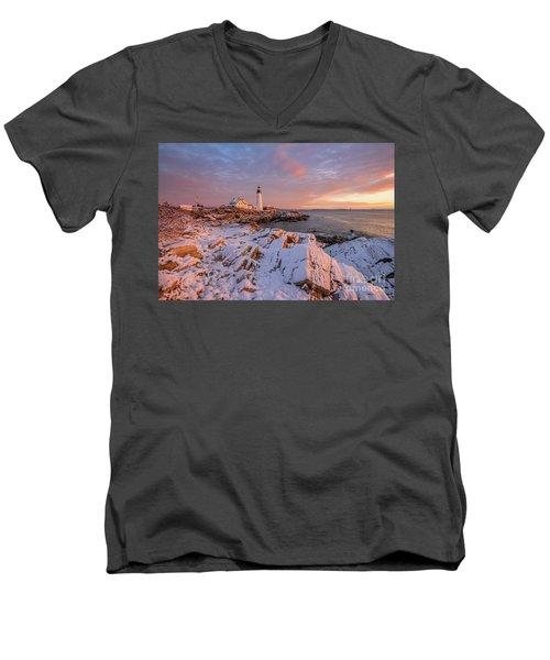 Winter Sunrise At Portland Head Light Men's V-Neck T-Shirt