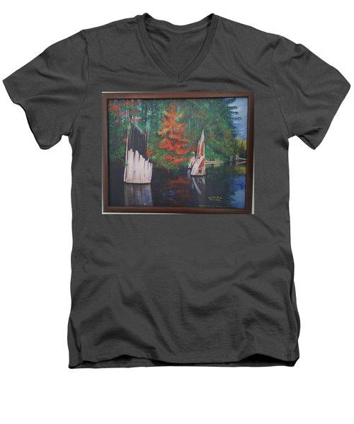 Wolf Lake On Vancouver Island  Men's V-Neck T-Shirt