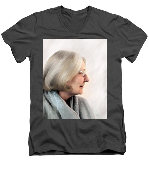 Woman In Grey Men's V-Neck T-Shirt