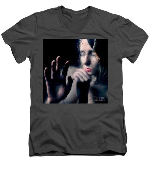 Woman Portrait Behind Glass With Rain Drops Men's V-Neck T-Shirt