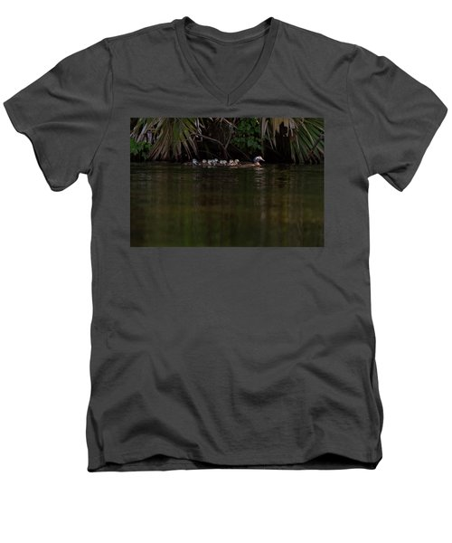 Wood Duck And Ducklings Men's V-Neck T-Shirt