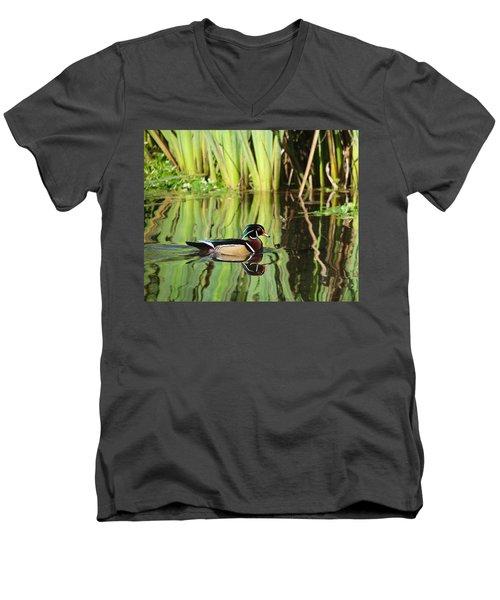 Wood Duck Reflection 1 Men's V-Neck T-Shirt