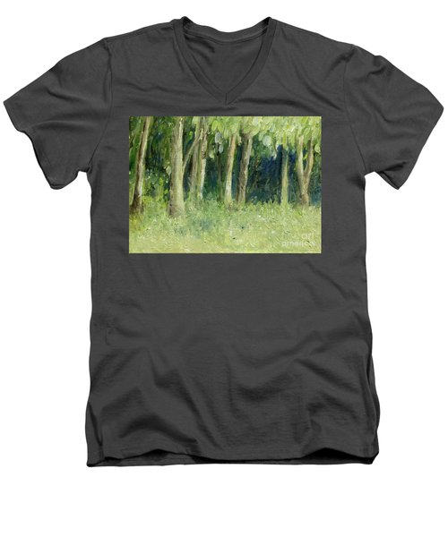 Woodland Tree Line Men's V-Neck T-Shirt