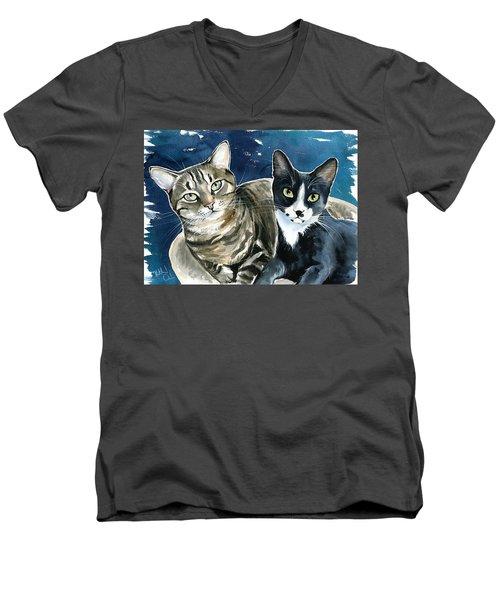 Xani And Zach Cat Painting Men's V-Neck T-Shirt